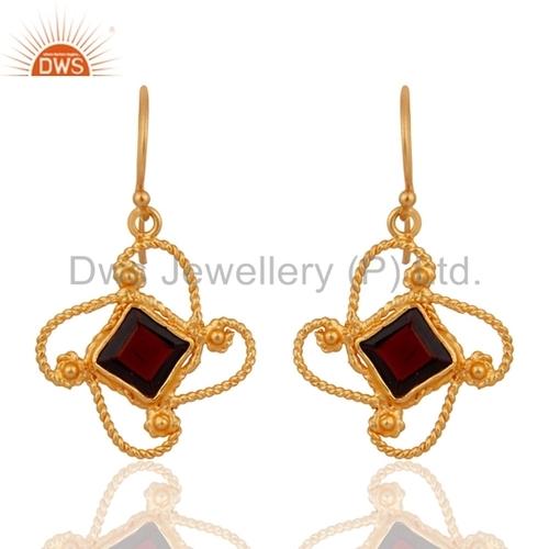 24k Gold Over Sterling Silver Garnet Gemstone Earring
