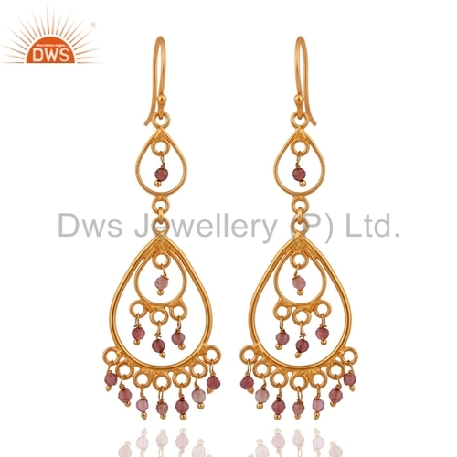 Pink Tourmaline Gold Plated Earrings Jewelry