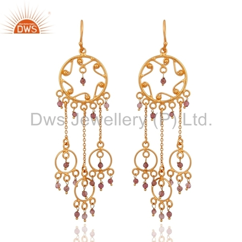 Pink Tourmaline Designer Silver Earrings Jewelry