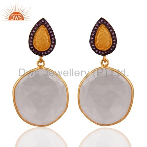 Crystal Quartz Gemstone Designer Silver Earrings
