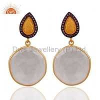 Crystal Quartz Amethyst Gemstone Gold Plated Earrings Jewelry