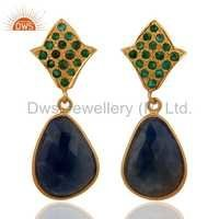 18K Gold Over Sterling Silver Emerald Blue Sapphire Earrings