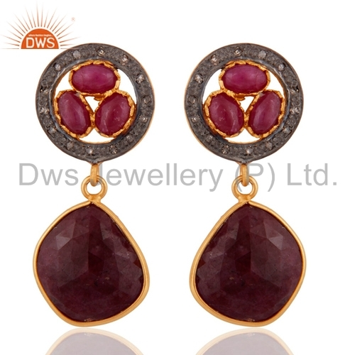 Pave Diamond Ruby Gemstone Sterling Silver Earring