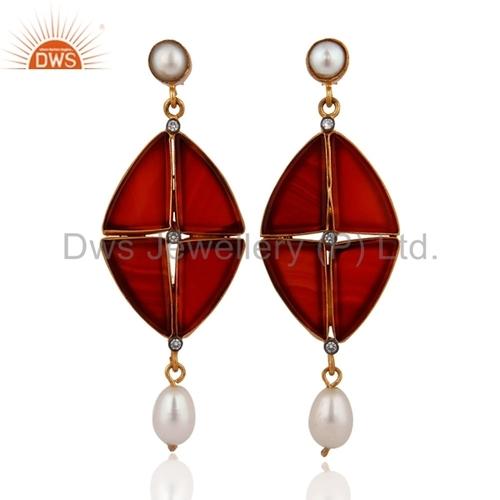14k Gold Sterling Silver CZ & Black Onyx White Pearl Earrings