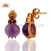 Amethyst & Ruby Sterling Silver Gold Plated Earrings