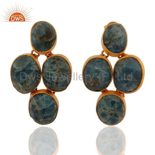 Green Jade 18k Gold Vermeil Sterling Silver Earrings