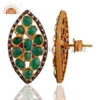 Sterling Silver Pave Diamond Emerald Earrings