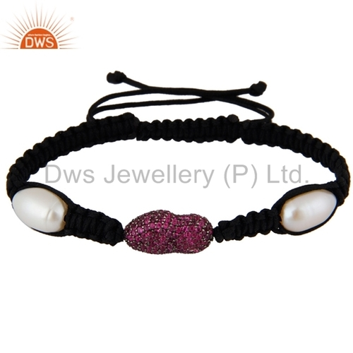 Natural Ruby and Pearl Gemstone Silver Bracelets
