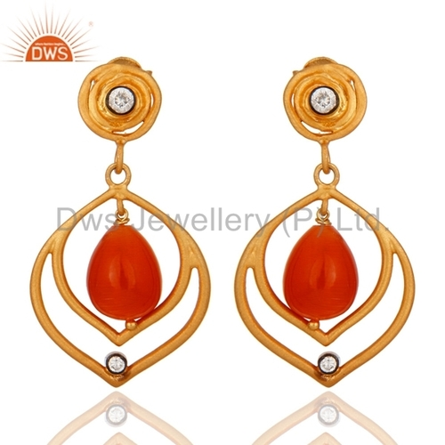 925 Silver Moonstone Drop Earring