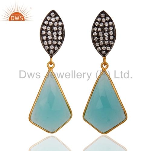 18k Gold Sterling Silver Glass Aqua Earrings