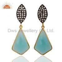 18k Gold Sterling Silver Glass Aqua Earrings