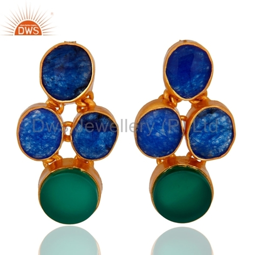 Sterling Silver Blue Sapphire 18k Gold Vermeil Earrings