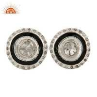Rose Cut Diamond 18k Gold Stud Earrings