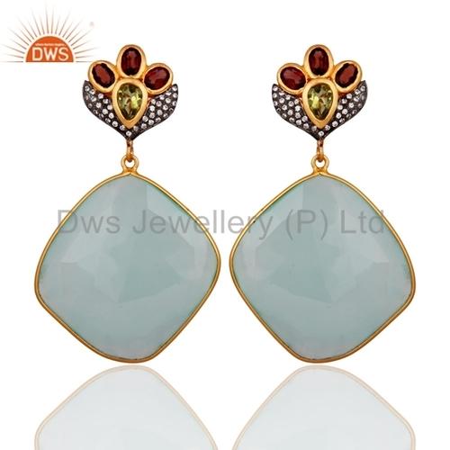 AQUA Chalcedony Vermeil 18k Gold Sterling Silver Earring