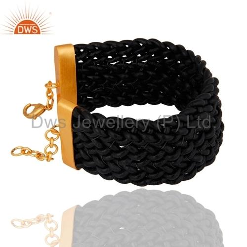 18k Gold Plated Black Leather Bracelet