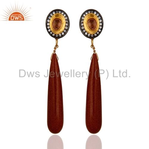Tourmaline & Red Sun 18k Gold Sterling Silver Earrings