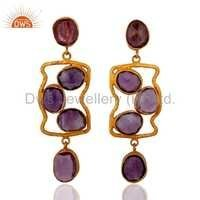 Sterling Silver Amethyst 18K Gold Vermeil Earrings