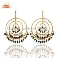 925 Silver Gold Plated Multi Tourmaline Earrings