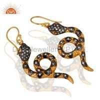 Sterling Silver Snake Design 18k Gold Vermeil Earrings