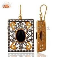 New Designer CZ Black Onyx Earrings Jewelry
