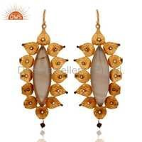 Designer 925 SIlver Agate Gemstone Earrings