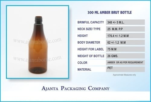 300 Ml Amber PET Brut Bottle