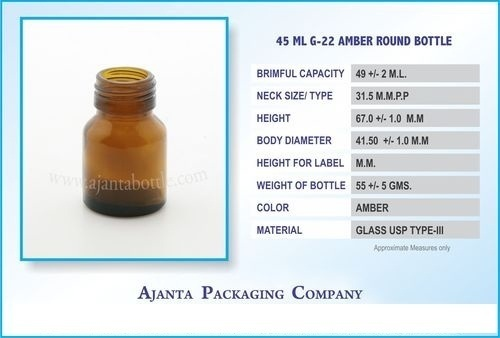 Tablet and Capsule Glass Bottle
