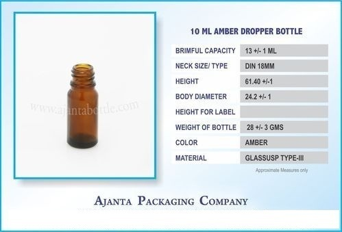 10 Ml Amber Homoeopathic Dropper Bottle