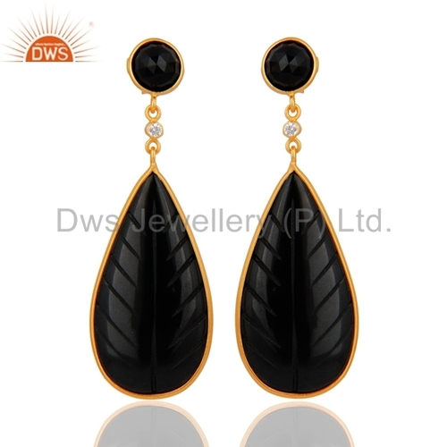 Hand Craved Black Onyx Gemstone Earrings Jewelry Manufacture