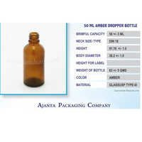 50 Ml Amber Dropper Homeopathic Bottle