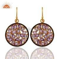 Sterling Silver Amethyst Gold Plated Earrings