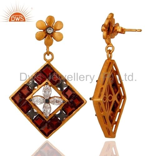 24k Gold Vermeil Garnet Gemstone Earrings