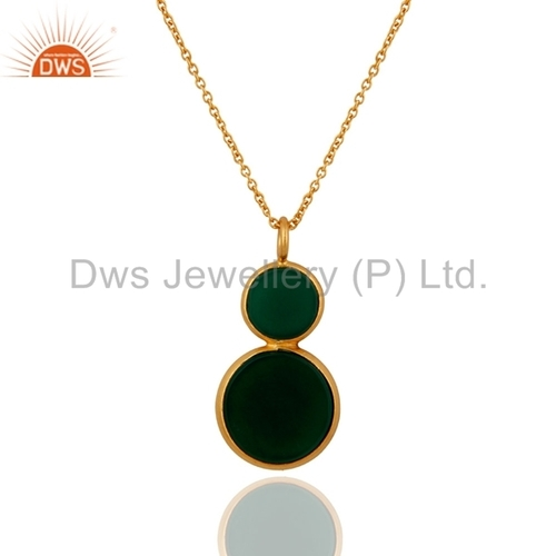 Sterling Silver Green Onyx Gold Plated Pendant