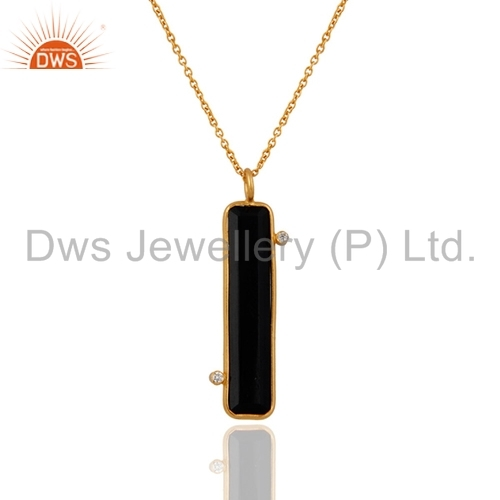 22K Gold On Sterling Silver Black Onyx Pendant
