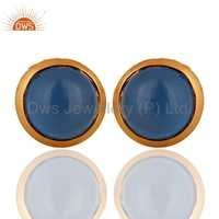 Sterling Silver 18k Gold Plated Blue Chalcedony Earrings