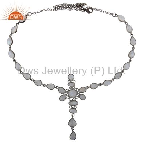Rainbow Moonstone Black Rhodium Plated Necklace