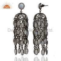 Rainbow Moonstone Rhodium Plated Earrings