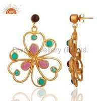 18k Gold Vermeil Glass Pink & Hydro Green Earrings