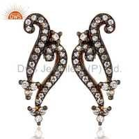 18k Gold Plated White Cubic Zirconia Earrings