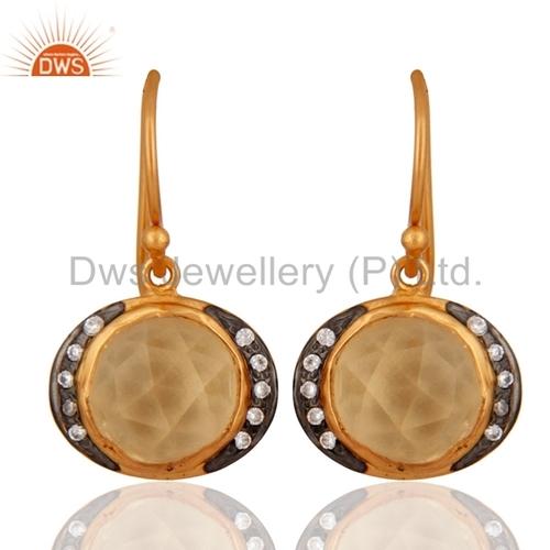 18K Gold On Sterling Silver Aqua Glass Earrings