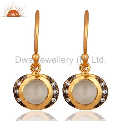 Moonstone 18K Gold On Sterling Silver Earrings