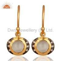 Moonstone 18K Gold On Sterling Silver Earrings