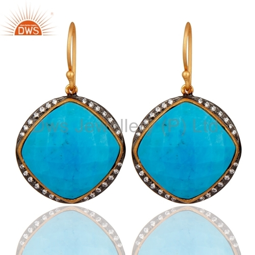 Gold Plated Sterling Silver Turquoise Earring