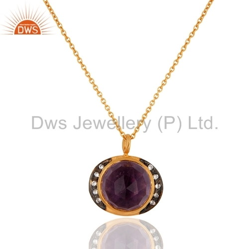 Gold Plated Sterling Silver Amethyst Pendant