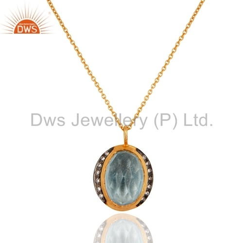 Sterling Silver Blue Topaz 22k Gold Plated Pendant