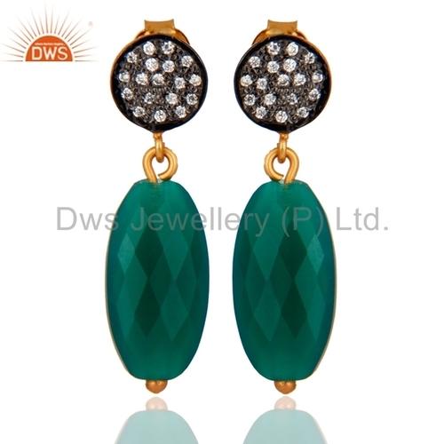 18K Gold Sterling Silver Briolette Green Onyx Earrings