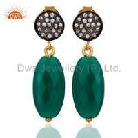 18K Gold Sterling Silver Briolette Green Onyx Earrings