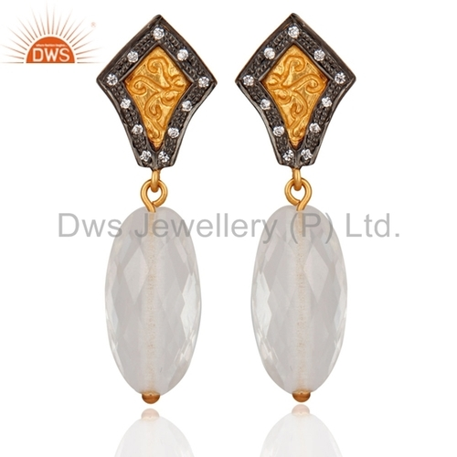 Gold Plated Sterling Silver Crystal Quartz Earrings