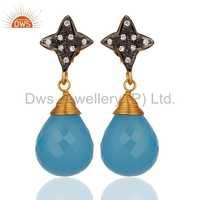 Gold Plated Sterling Silver Aqua Blue Chalcedony Earrings
