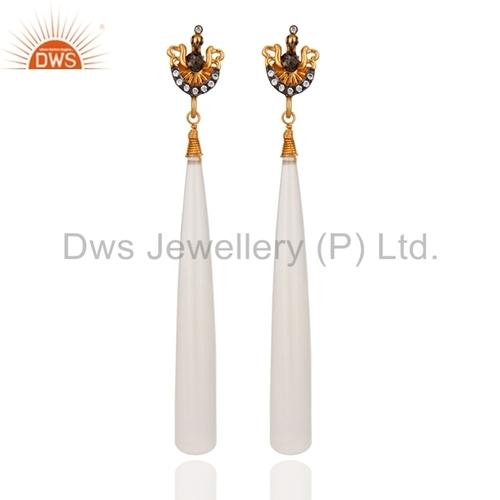 Silver 925 White Chalcedony Gemstone Earrings